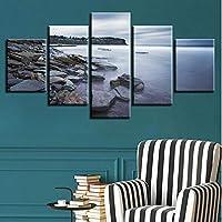 Xbwy ホームリビングルームの壁アート絵画の装飾5ピースHd印刷石山自然風景キャンバス画像モジュラーポスターフラム-30X40Cmx2,30X60Cmx2,30X80Cmx1