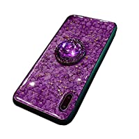iPhone x ケース 紫 対応iPhone x iPhone xs スマホケース クリスタルスタンド カバー 耐衝撃 ins風のアイフォンケース 大理石柄 (iPhone x/xs, パープル)