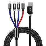 ライトニングケーブル 4in1 ケーブル 3in1 充電ケーブル Baseus USB Type-C/ライトニング/Micro USB 充電ケーブル 一本四役 iOS/Android 同時給電可能 3.5A急速充電 高速データ転送 ナイロン編み iPhone/Galaxy/Huawei/Macbook等全機種対応 1.2m ブラック