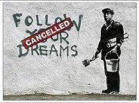 ポスター バンクシー Follow Your Dreams 額装品 アルミ製ベーシックフレーム(ホワイト)