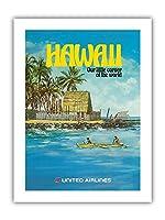 ハワイ - ユナイテッド航空 - City of Refuge, ホナウナウ湾 - ビンテージな航空会社のポスター によって作成された ミカエル・ヘーゲル c.1970s - プレミアム290gsmジークレーアートプリント - 30.5cm x 41cm