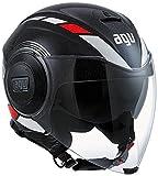 AGV ジェットヘルメット シールド付 FLUID MULTI, カラー :EQUALIZER ブラック グレー, サイズ:L (59-60 cm)