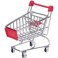 ringbuuミニスーパーマーケットカートショッピングカート、スモールHandcartストレージオーナメント、楽しい小さなおもちゃのペット S レッド