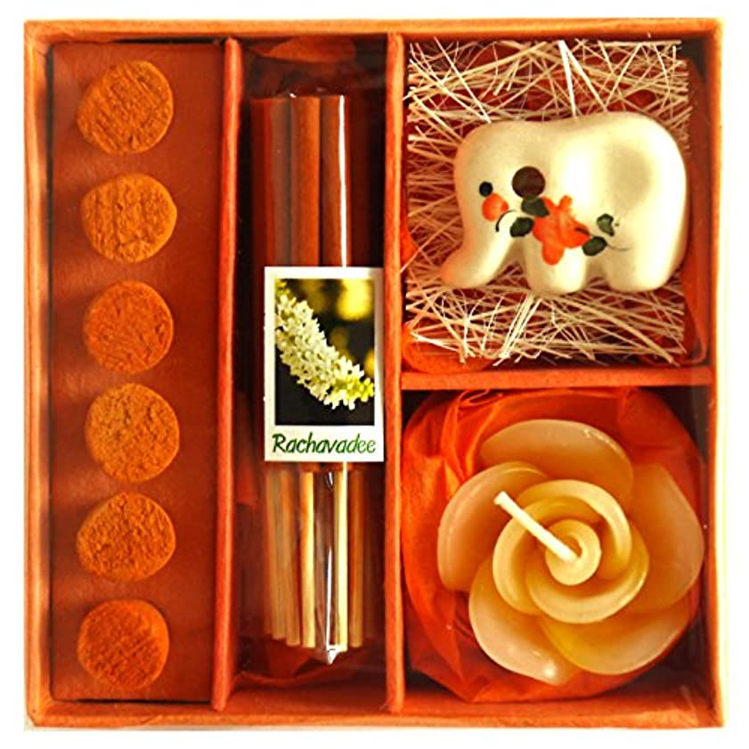 プログラム面言及するアロマギフトBOX 退職ギフト 色おまかせ 香りつきアロマキャンドル 2種類のお香 陶器製お香立ての入ったギフトセット サンキューシール付き