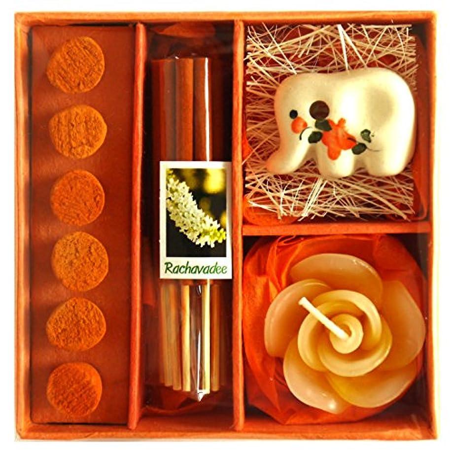 クラウン劇作家弓アロマギフトBOX 退職ギフト 色おまかせ 香りつきアロマキャンドル 2種類のお香 陶器製お香立ての入ったギフトセット サンキューシール付き