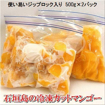 石垣島の「冷凍カットマンゴー」約1kg入り(500g×2パック・果肉のみ) 国産・沖縄 2019年収穫分