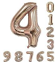 ローズゴールドの数誕生日パーティー40インチバルーン(0-9)アラビア数字4の装飾