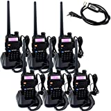 Retevis RT-5R 2 Way Radio 5W 128CH FM Dual Band Dual Standby Radio Walkie Talkies (6 Pack) and Programming Cable
