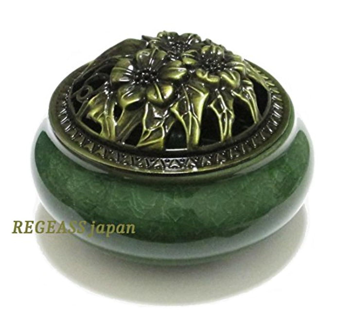 ホールシールカップREGEASS 風水 開運 香炉 磁器 丸香炉 お香立て 天然水晶さざれ石付き (深緑)