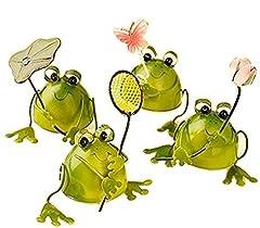 幸運をもたらす 4匹の小さなカエル プチ 置物 プレゼント インテリアとしても最高 ブリキ で作られた かわいい 蛙 の オブジェ (葉、網、花、蝶)
