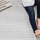 【シンプルボーダー柄で年代を問わない人気のラグ】 (200×250cm) スウェット生地 ラクラク掃除仕様 グレー色