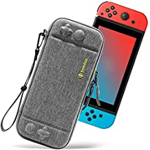 Ultra Slim Carrying Case Fit for Nintendo Switch, tomtoc Original Patent Portable Hard Shell Travel Case Pouch Protective Cover, 10 Game Cartridges, Military Level Protection, Gray