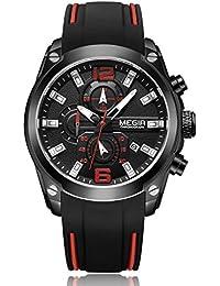 MEGIR シリコン バンド 合金 ケース ウォッチ クロノグラフ 防水 カレンダー オート日付 ビジネス クオーツ 腕時計