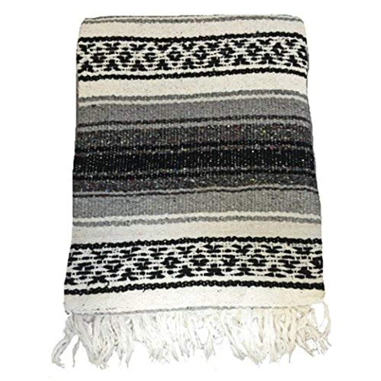 擬人化揃える結論El Molcajete Brand Traditional Mexican Yoga Blanket Serape Grey [並行輸入品]