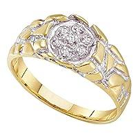 10KT イエローゴールド メンズ ラウンドダイヤモンド 2トーン ナゲットバンドリング 0.48 Cttw