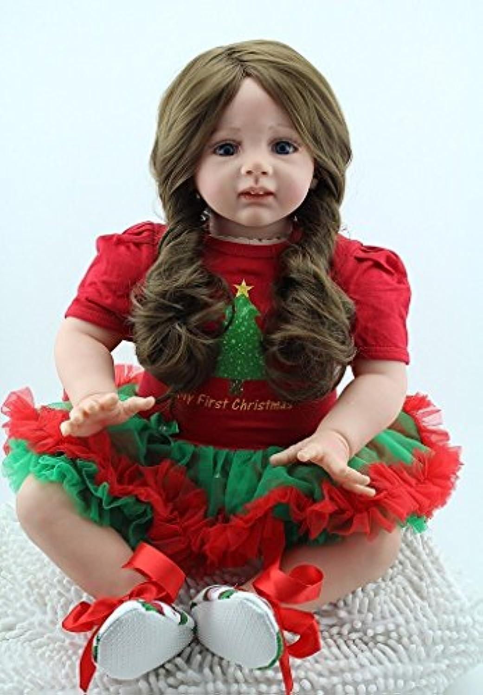 oumeinuo 24インチリアルなソフトシリコン幼児用ガールLifelike Rebornベビー人形ロングヘアレディースガールズBirthdaygift