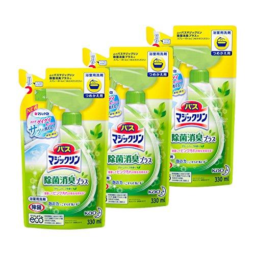 【まとめ買い】バスマジックリン 浴室洗剤 泡立ちスプレー 除菌消臭プラス 詰替用 330ml×3個