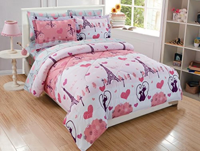 Micasa子供布団セットパリEiffelピンク印刷デザイン フル ピンク