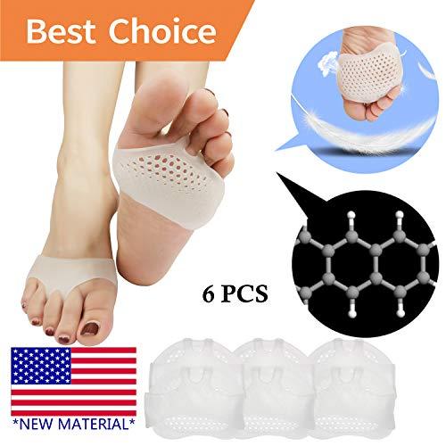 Pnrskter 中足前足パッド 通気性 柔らかい ジェル 糖尿病の足に最適 カルス 水疱 前足痛 男性のための両方の足に使用することができます