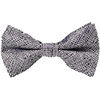 Bullidea Men's Pure Plain Bowtie Adjustable Solid Color Pre Tied Bow Tie for Wedding Party Polyester Gray