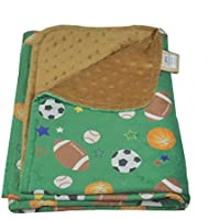27 1/2 x 39 Ultra Soft Minky Polyester Cuddly Baby Toddler Blanket for Bed, Crib, Car or Stroller (Green-Brown Sports Balls) by Silli Me