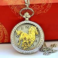SJXIN 美しい懐中時計 中空Pentium馬懐中時計シングルガン馬懐中時計ラージルームゴールド空の馬懐中時計8106 (Color : 1)