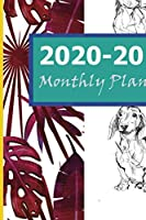 2020-2021 Monthly Planner: Red Blue Floral Line Dog 2 Year Monthly Planner: Calendar Schedule Organizer January 2020 to December 2021 (24 Months) With Holidays and inspirational Quotes