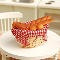 Dolls House Miniature Bread Toast on A Basket Kitchen Food Bakery Pastry Set
