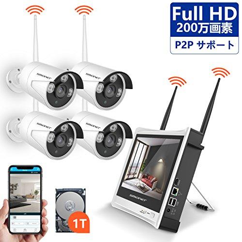 1080P Full HD ワイヤレス防犯カメラ SMONE...