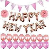 かえるの家 2019年新年お祝い 風船 ガーランド セット アルミバルーン 飾り付け 16インチHAPPY NEW YEAR英字 忘年会 クリスマス パーティー デコレーション 両面テープ付き (ピンク)