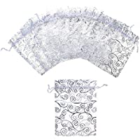 "Aspire 1000PCS Silver Eyelash Organza Drawstring Pouches, 3 1/2"" x 4 3/4"" Jewelry Candy Wedding Bag"