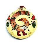 【ペルー民芸品・オカリナ】素焼きのオカリナ特大 丸型 スタンドタイプ No.2 鳥の柄 陶器製(セラミカ)ペルー製