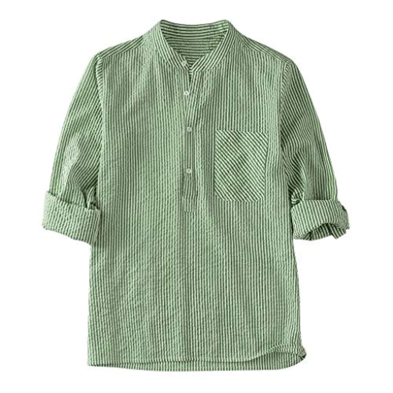 Florrita ストリート系 メンズ ストライププリント 長袖 スウェット 男子 ポケット tシャツ 大きいサイズ かっこいいリネン 綿麻服 カジュアル トレーナー カットソー 薄手 男性 トップス ゆったり ブラウス 上着 お兄系 通勤 プレゼント