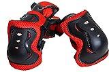 Life Connection 転んでも無傷! キッズプロテクター (対象年齢4歳以上) + 大型メッシュバッグ付き 自転車 ストライダー 三輪車 一輪車 ローラーブレード (ブラック × レッド(黒赤))