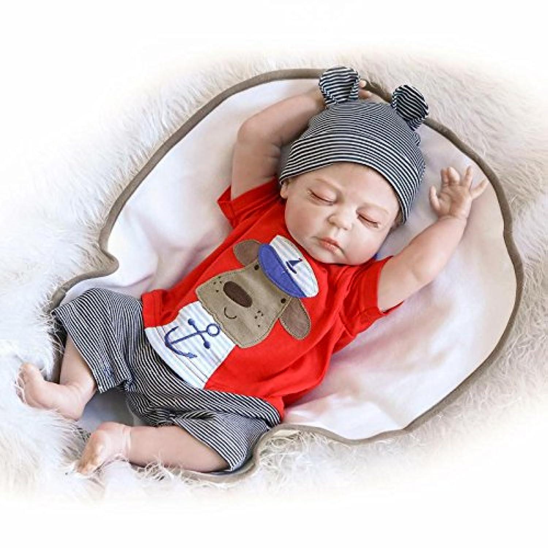 Rebornベビー人形、シリコンフルボディLifelike新生児赤ちゃん人形for Ages 3 +、授乳Treats撮影小道具、22インチGirl Boy Toy – 赤でBoy Suit