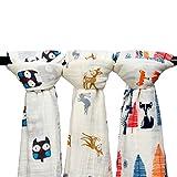 3枚セット 綿100% 毛布 ダブルガーゼ 出産祝い 赤ちゃん バスタオル ベビー ブランケット 新生児 ガーゼタオル 120cm×120cm (動物)