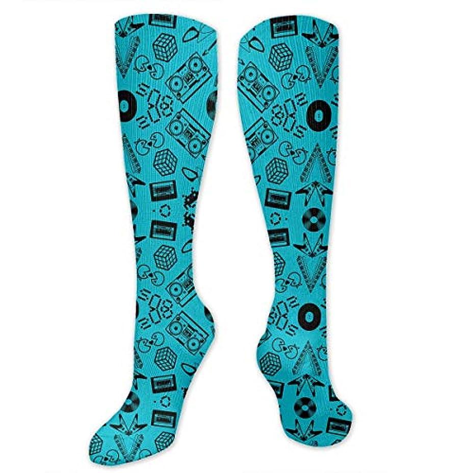 砦半球高さ靴下,ストッキング,野生のジョーカー,実際,秋の本質,冬必須,サマーウェア&RBXAA Icons On Turquoise Socks Women's Winter Cotton Long Tube Socks Cotton...