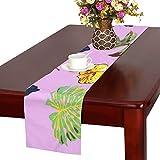 LKCDNG テーブルランナー 緑の木の葉 鳥 クロス 食卓カバー 麻綿製 欧米 おしゃれ 16 Inch X 72 Inch (40cm X 182cm) キッチン ダイニング ホーム デコレーション モダン リビング 洗える