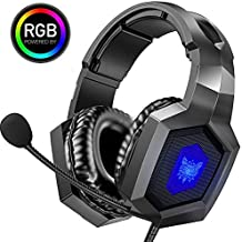 ONIKUMA Gaming Headset - Stereo K8 Gaming Headset for PS4 Xbox One, Noise Cancelling Mic Over Ears Gaming Headphones with Microphone for Playstation 4 Laptop Smartphones and PC (Black)