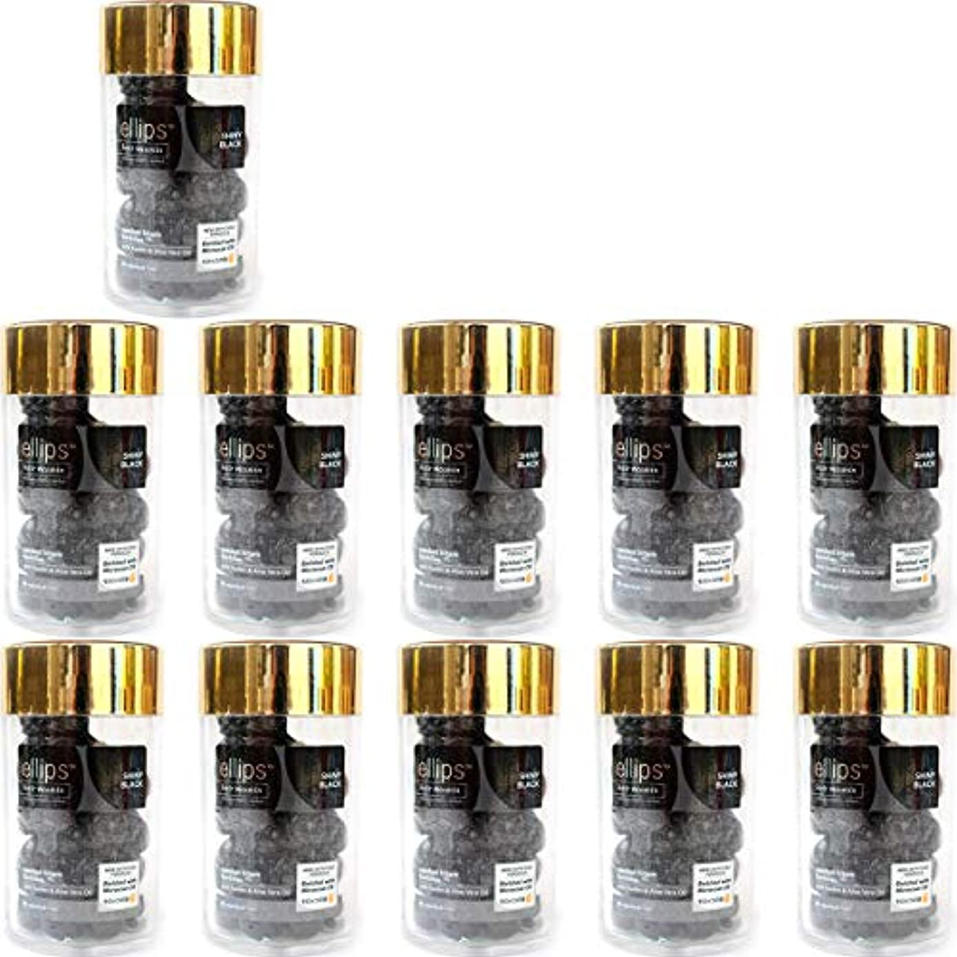 成長する雨愚かellips エリプス ヘアビタミン ヘアオイル エリップス トリートメント ナチュラルシリーズ 50粒入ボトル ブラック 11個セット [海外直送品]