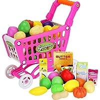 Xiang Ru ショッピングカート 子供 おもちゃ おままごと 手押し車 知育玩具 プレゼント 誕生日 買い物のゲーム スーパーマーケット 野菜と果物の種類はランダム発送 16点セット ピンク