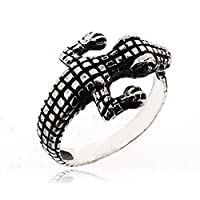 SOVATS Crocodile Ring for Women 925 Sterling Silver Oxizidize Surface - Simple, Stylish &Trendy Nickel Free Ring