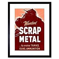 ヴィンテージAd戦争プロパガンダスクラップメタルWanted Tanks Guns Framed Print f12X 6031 12-Inches x 16-Inches ブラック F12X6031_Black