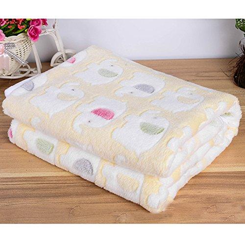 WYSBAOSHU 犬猫用 ベッド 毛布 ブランケット クッション スーパーソフト (L:90X110CM, 黄 * 2)