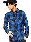 (エイト) 8(eight)3color ブロックチェック ネルシャツ 長袖シャツ フランネル アメカジ M ブルー
