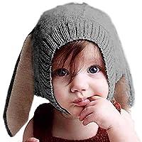 pomaikai ベビー 帽子 うさぎ 耳 ニット帽 男の子 女の子 新生児 誕生日 ギフト 記念 撮影 (ダークグレー)