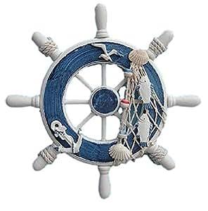 【southanshop】 マリンテイスト 地中海風 船舵 インテリア おしゃれな 雑貨 装飾 内装 外装に (マリンブルー)