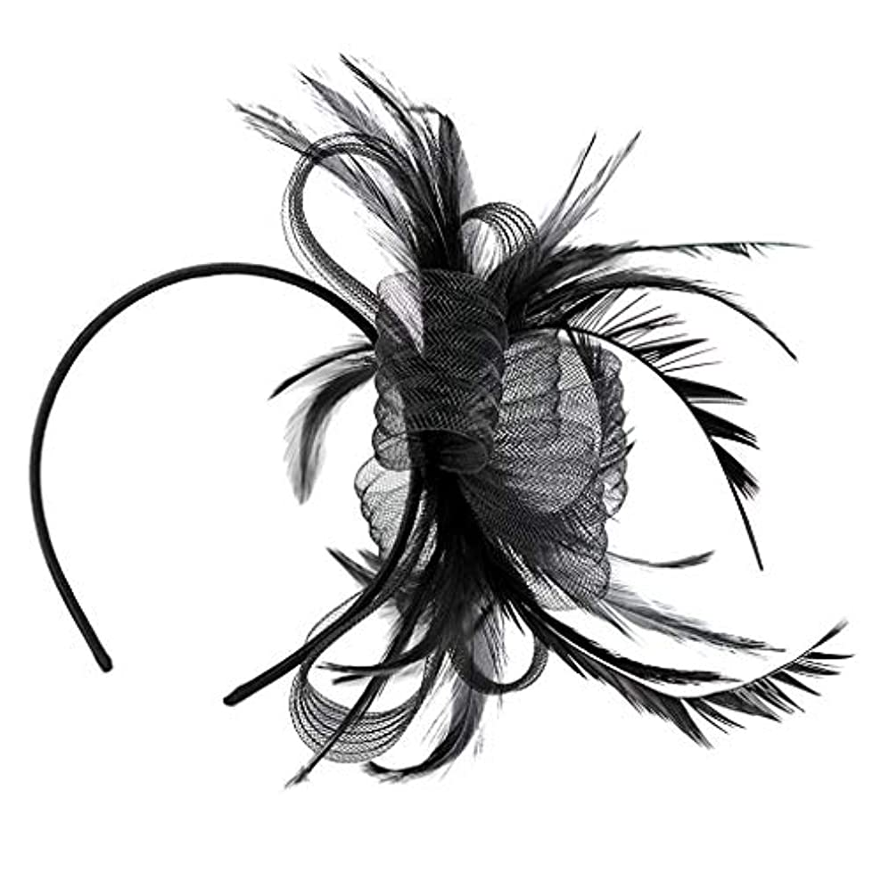 摂氏期限切れ学校の先生ヘアバンド 羽の帽子 ブラック 女性 羽のヘアバンド 結婚式 ブライダル ヘアアクセサリー