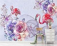 Mbwlkj 古典的な立体壁紙、北欧のロマンチックな新鮮な水彩画のフラミンゴは、背景3 Dの壁紙を描いた-150cmx100cm