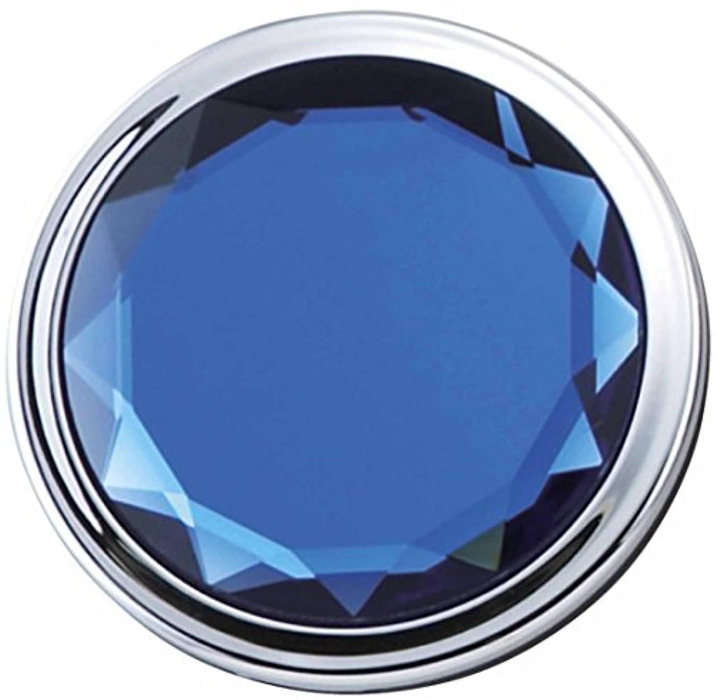ブラシ藤色プライバシーメトリックス JEWEL color コンパクト ミラー ブルー 等倍 & 2倍 拡大鏡 es